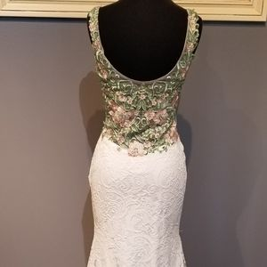 Blush Dresses - Blush White Lace Floral Embroidered Formal Dress